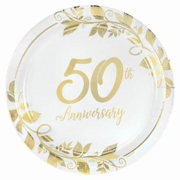 "AMSCAN 50TH ANNIVERSARY 7"" PLATES 8ct"