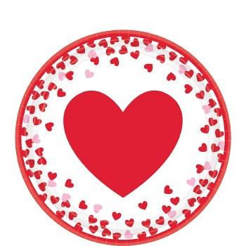 """CONFETTI HEARTS 9"""" PLATES 8ct"""