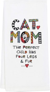 EMBROIDERED TEA TOWEL CAT MOM