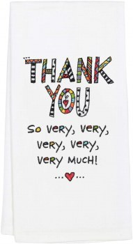 EMBROIDERED TEA TOWEL THANK YOU