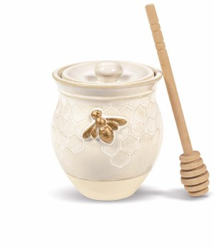 GRASSLANDS BEE HONEY POT & DIPPER