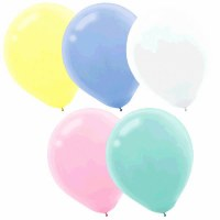LATEX BALLOONS 15CT ASST PASTEL COLORS