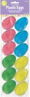 12CT MED PLASTIC EGGS GLITTER