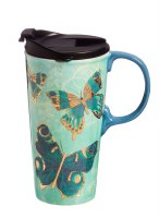 17oz CERAMIC TRAVEL CUP BUTTERFLY