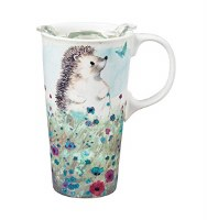 17oz CERAMIC TRAVEL CUP HEDGEHOG MEADOW