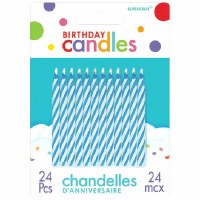 24CT BLUE CANDY STRIPE CANDLES