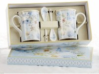 2ct MUG SET W/SPOONS BLUE BUTTERFLY