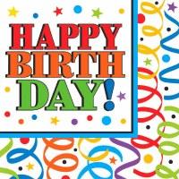 LUNCHEON NAPKINS 16ct COLORFUL BIRTHDAY