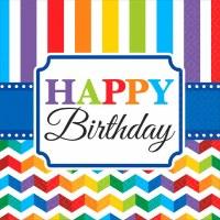 LUNCHEON NAPKINS 16ct BRIGHT BIRTHDAY