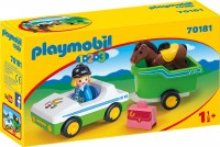 PLAYMOBIL 123 CAR W/ HORSE TRAILER