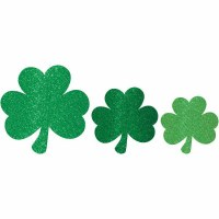 AMSCAN 10ct GLITTER CUTOUTS SHAMROCKS
