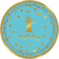 "AMSCAN 1ST BIRTHDAY BOY 7"" PLATES"