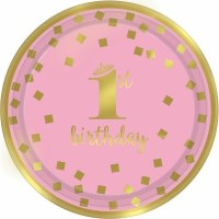 "AMSCAN 1ST BIRTHDAY GIRL 7"" PLATES"
