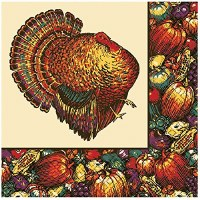30CT BEVERAGE NAPKINS AUTUMN TURKEY