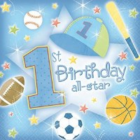 AMSCAN 36ct NAPKINS 1st B'DAY ALL STAR