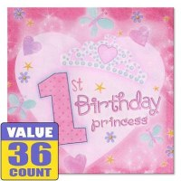 AMSCAN 36ct NAPKINS 1st B'DAY PRINCESS