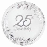 "AMSCAN 8ct 7"" PLATES 25TH ANNIVERSARY"