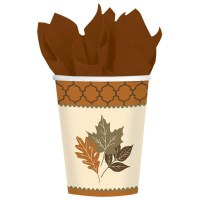 AMSCAN CUPS 8CT COPPER LEAVES