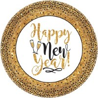 "AMSCAN HAPPY NEW YEAR PLATES 7"" 18CT"