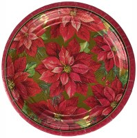 AMSCAN HOLIDAY POINSETTIA PLATES 12""