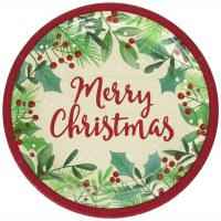 AMSCAN MERRY HOLLY DAY PLATES 7""