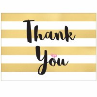 AMSCAN THANK YOU CARDS GOLD STRIPE