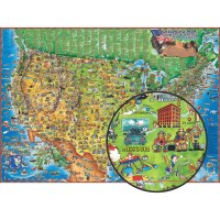 """CHILDREN'S MAP OF THE USA 54"""" x 38"""""""