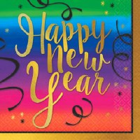 COLORFUL NEW YEAR BEVERAGE NAPKINS 36CT