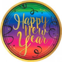 "COLORFUL NEW YEAR PLATES 10.5"" 18CT"