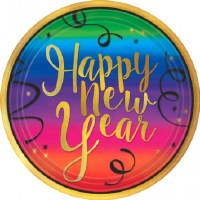 "COLORFUL NEW YEAR PLATES 7"" 18CT"