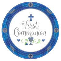 "COMMUNION DAY BOY PLATES 10.5"" 18ct"