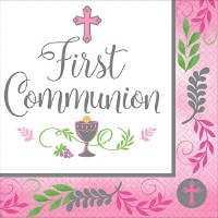 COMMUNION DAY GIRL 36ct BEVERAGE NAPKINS