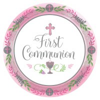 "COMMUNION DAY GIRL PLATES 10.5"" 18ct"