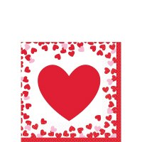 CONFETTI HEARTS BEVERAGE NAPKINS 16CT