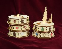 COTTAGE DISPLAY TREES W/AMBER TEALIGHT