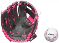 "FRANKLIN GLOVE 9.5"" W/BALL PINK RH"