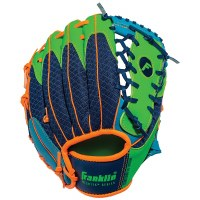 "FRANKLIN T-BALL GLOVE 9.5"" ROYAL/LIME/OR"