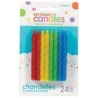LARGE GLITTER SPIRAL CANDLES PRIMARY