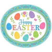 """LOVELY EASTER OVAL PLATES 12"""" 8ct"""