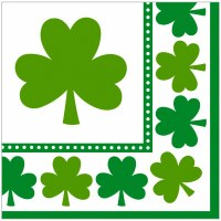 LUCKY SHAMROCKS 16CT BEVERAGE NAPKINS