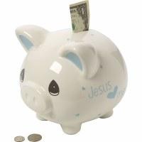 P/M JESUS LOVES ME PIGGY BANK BLUE