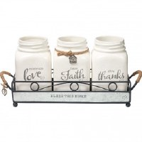 PRECIOUS MOMENTS SET/3 MASON JARS