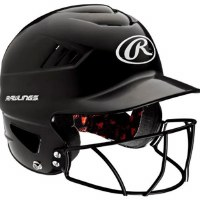 RAWLINGS BATTING HELMET W/GUARD BLK