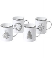 WEDGWOOD WINTER WHITE MUGS SET/4
