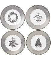 WEDGWOOD WINTER WHITE SALAD PLATES SET/4