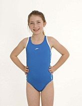 Speedo Superiority Muscleback Girl's Swimming Costume 24 Blue/ White