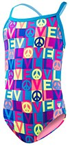 TYR Girls Peace & Love Blue/ Pink