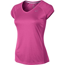 Nike Miler Short Sleeve V-Neck Hot Pink