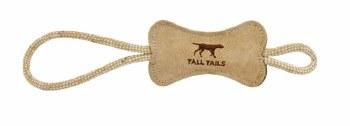 "Tall Tails - Leather Bone Tug - Dog Throw and Tug Toy - 16"""