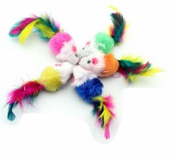 Boca Pet - Cat Toy - Real BIG Feather Mice
